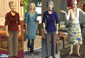 Sims 2 — Stylish old ladies by macthekat — Just because a sim is over 50 does not mean that she have to lose all style.