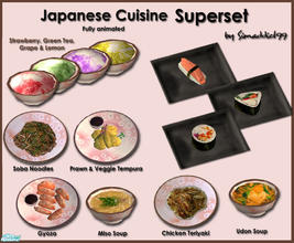 Sims 2 — Japanese Cuisine Superset by Simaddict99 — Includes all my Japanese meals from sushi to kakigori