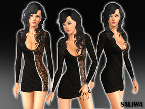 Sims 3 — Fergie Lace Detailed Zip Dress  by saliwa — Fergie Lace Detailed Zip Dress by Saliwa, with 2 recolorable channel
