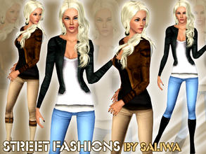 Sims 3 — Street Fashions - V1 by saliwa — Full Modern Outfit for Everyday Clothing. Comes with 4 recolorable channels.
