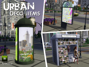 Sims 3 — Urban Deco Items by estatica — A small set with decorative items for your city.