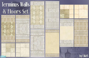 Sims 2 — Terminus Walls & Floors Set by filizk — A collection of stone walls tastefully designed for your sims who