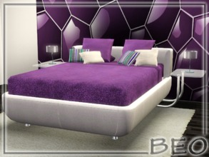Sims 3 — Leather modern bed by BEO — Bed in 2 variants. Recolorable