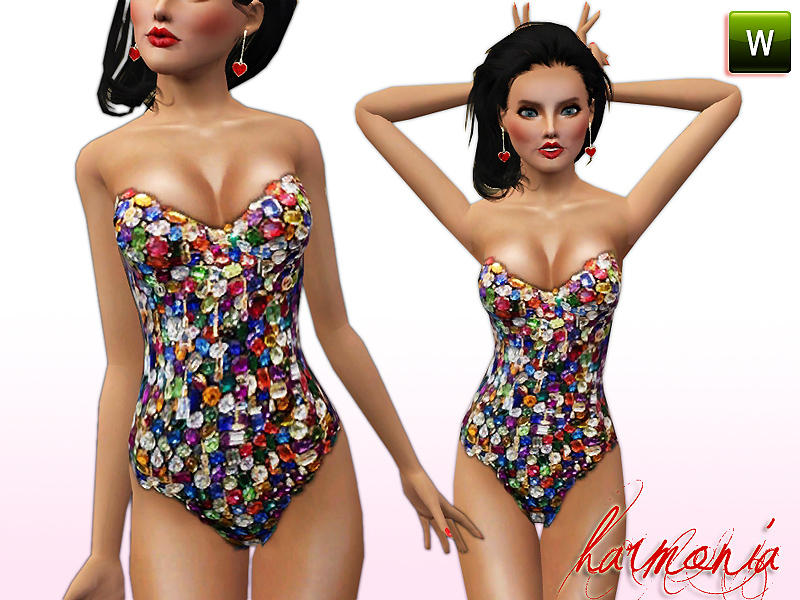 Harmonia's Colored Crystal Embellished Body Suit