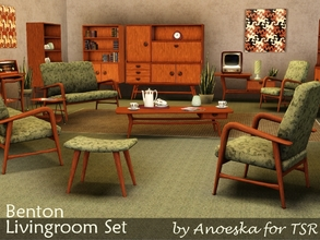 Sims 3 — Benton Livingroom by AnoeskaB — A mid-century livingroom set with a large amount of furniture, deco items and a