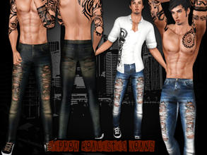 Sims 3 — [S] Ripped Daily Jeans by saliwa — Daily Ripped Realistic Jeans for Adult Males by Saliwa