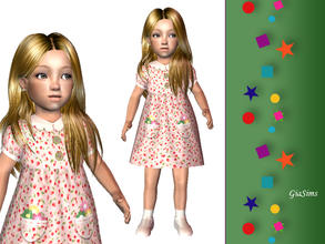 Sims 2 — Pink toddler dress with flowers by giasims — Summer dress for toddlers