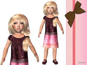 Sims 2 — Brown and pink toddler dress by giasims — Brown and pink toddler dress