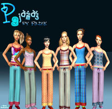 Sims 2 — Teen Pajamas Set by filizk — Colorful, fun pajamas for your teen girls.