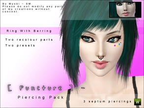 Sims 3 — [ Puncture ] Septum Piercing Pack V1 by Screaming_Mustard — Ola! Here is a set of three new septum piercings for