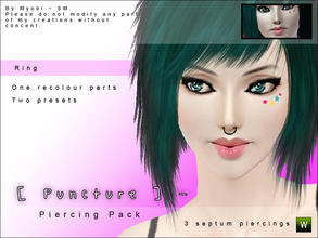 Sims 3 — [ Puncture ] Septum Piercing Pack V2 by Screaming_Mustard — Ola! Here is a set of three new septum piercings for