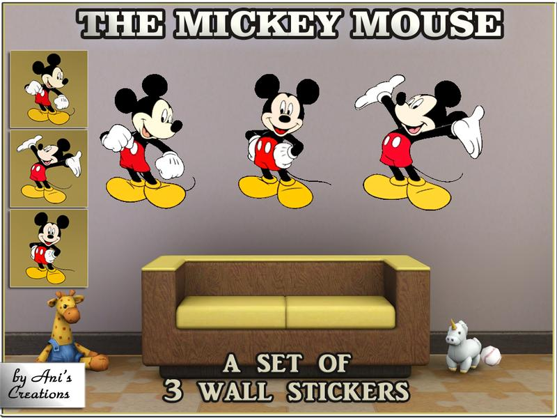 AniFlowersCreations  The Mickey Mouse   set of 3 wall stickers by Ani s  Creations. AniFlowersCreations  The Mickey Mouse   set of 3 wall stickers by