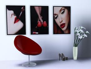 Sims 3 — Red tentation paintings by patrymad — Elegant and feminine set of 3 frames