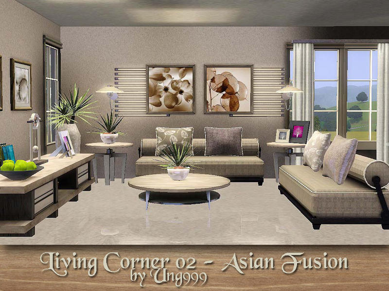 Ung999 39 s living corner 02 asian fusion for Living room ideas sims 3