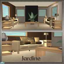 Sims 2 — Jardine Livingroom Set by nikisatez05 — 8 New Meshes. Three-Seat Sofa, Tablelamp, Endtable, Coffeetable,