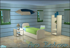 Sims 2 — Aira Bedroom Set by sim_man123 — New bedroom mesh set, has 5 items. Bed, curtain, end table, chair, and shelf.