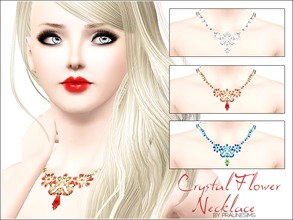 Sims 3 — Crystal Flower Necklace by Pralinesims — New beautiful, realistic necklace with shiny flowers and strass stones