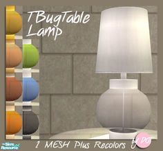 Sims 2 — TBug Table Lamp by DOT — TBug Table Lamp. 1 Lamp Mesh plus recolors. Sims 2 by DOT of The Sims Resource.