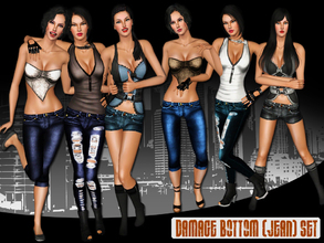 Sims 3 — Damage Bottom (Jean) Set by saliwa — This Set is the second part of Damage Set. Enjoy!