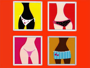 Sims 3 — Lively paintings by patrymad — Underwear paintings in four different variants