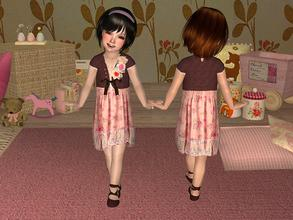 Sims 2 — Dress with Lace and Flowers for Toddler by angelkurama — Dress with Lace and Flowers for Toddler