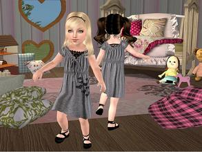 Sims 2 — Grey Dress with Lace for Toddler by angelkurama — Grey Dress with Lace for Toddler