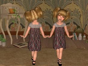 Sims 2 — Grey Dress with Check Pattern for Toddler by angelkurama — Grey Dress with Check Pattern for Toddler