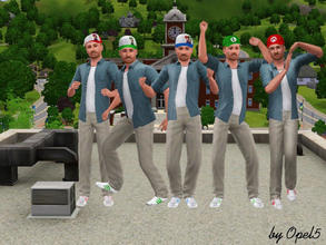 Sims 3 — Mario Caps by opel5 — This are five different style caps of mario for adult and young adult male Sims. These