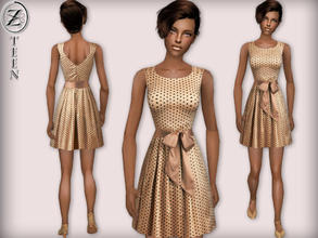 Sims 2 — 2012 Fashion Collection Part 15 (Teen Female) by zodapop — Glimmering, light tan dress, which features a polka