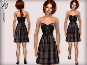 Sims 2 — 2012 Fashion Collection Part 16 (Teen Female) by zodapop — Onyx and grey strapless dress with its plaid collar