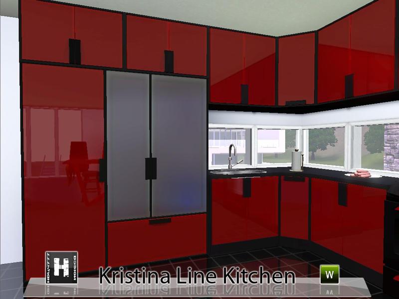 Hudy777 design 39 s kristina line kitchen for Sims 4 kitchen designs