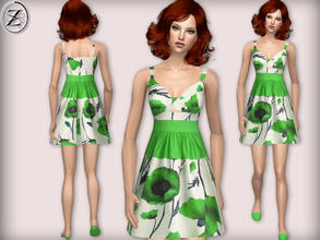 Sims 2 — 2012 Fashion Collection Part 34 by zodapop — Vibrant green poppy print, white babydoll sundress with a green