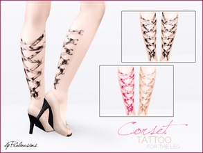 Sims 3 — Corset Tattoo for the Leg by Pralinesims — Corset Tattoo - now for the legs, too! You can find the corset tattoo