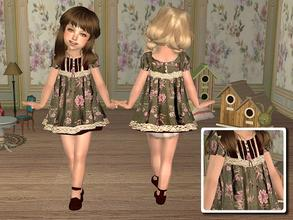 Sims 2 — Dress with Floral Prints for Toddler - Green by angelkurama — Dress with Floral Prints for Toddler - green