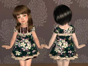 Sims 2 — Dress with Floral Prints for Toddler - Black by angelkurama — Dress with Floral Prints for Toddler - Black