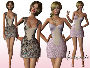 Sims 2 — Designer Embellished Haute Couture Set by Harmonia — 2 Special Dress mesh included