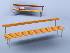 Sims 3 — Changing room bench by Cyclonesue — No cushions for this mean piece of furniture. For Sims who should be outside