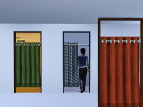 Sims 3 — Sliding Curtain Cubicle Door by Cyclonesue — For changing rooms, cubicles, etc - a real, working, sliding