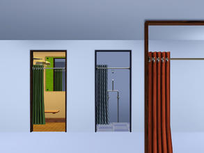 Sims 3 — Curtained Cubicle Door (Open) by Cyclonesue — For changing rooms, cubicles, etc. This curtain is fixed in the