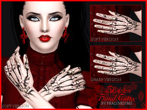 Sims 3 — Skeleton Hand Tattoo by Pralinesims — Unique skeleton tattoo for your sims! 2 versions are included, a sharp and