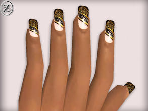 Sims 2 — Nails 25 by zodapop — Gold and black tipped nails.