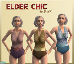 Sims 2 — Elder Chic Swimsuit Set by filizk — Don\'t let your elder sims go on a vacation with out-of-fashion swimsuits.