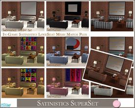 Sims 2 — Satinistics Super Set by DOT — Satinistics Super Set. Satinistics, Sofa, Chair, Chair with pillow, LoveSeat with