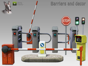 Sims 3 — Ticket and Traffic Barriers (plus decor) by Cyclonesue — Traffic and ticket barriers with associated decor