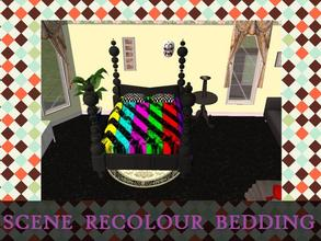 Sims 2 — Scene Recolour Bedding by staceylynmay2 — Yellow, aqua, pink, green, red and purple bedding.Black and white