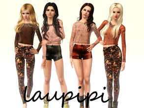 Sims 3 — Autumm Set by laupipi2 — Two embellished jumpers. Leather recolorable shorts. Printed not recolorable leggins.