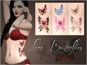 Sims 3 — Lace Butterflies Tattoo by Pralinesims — Unique butterfly tattoos for your sims! 3 premade variations