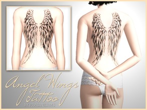 Sims 3 — Angel Wings Tattoo by Pralinesims — Unique angel wings tattoo for your sims! Recolorable - 4 channels Its under