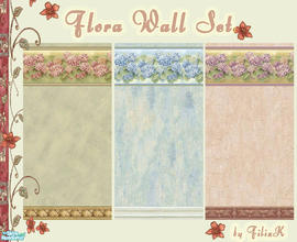 Sims 2 — Flora Wall Set by filizk — 3 floral wallpapers for your country houses. With these wallpapers, you can create a