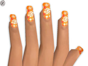 Sims 2 — Nails 26 by zodapop — Orange nails with mixed print.